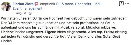 Bewertung eines DJ Hochzeit Hannover